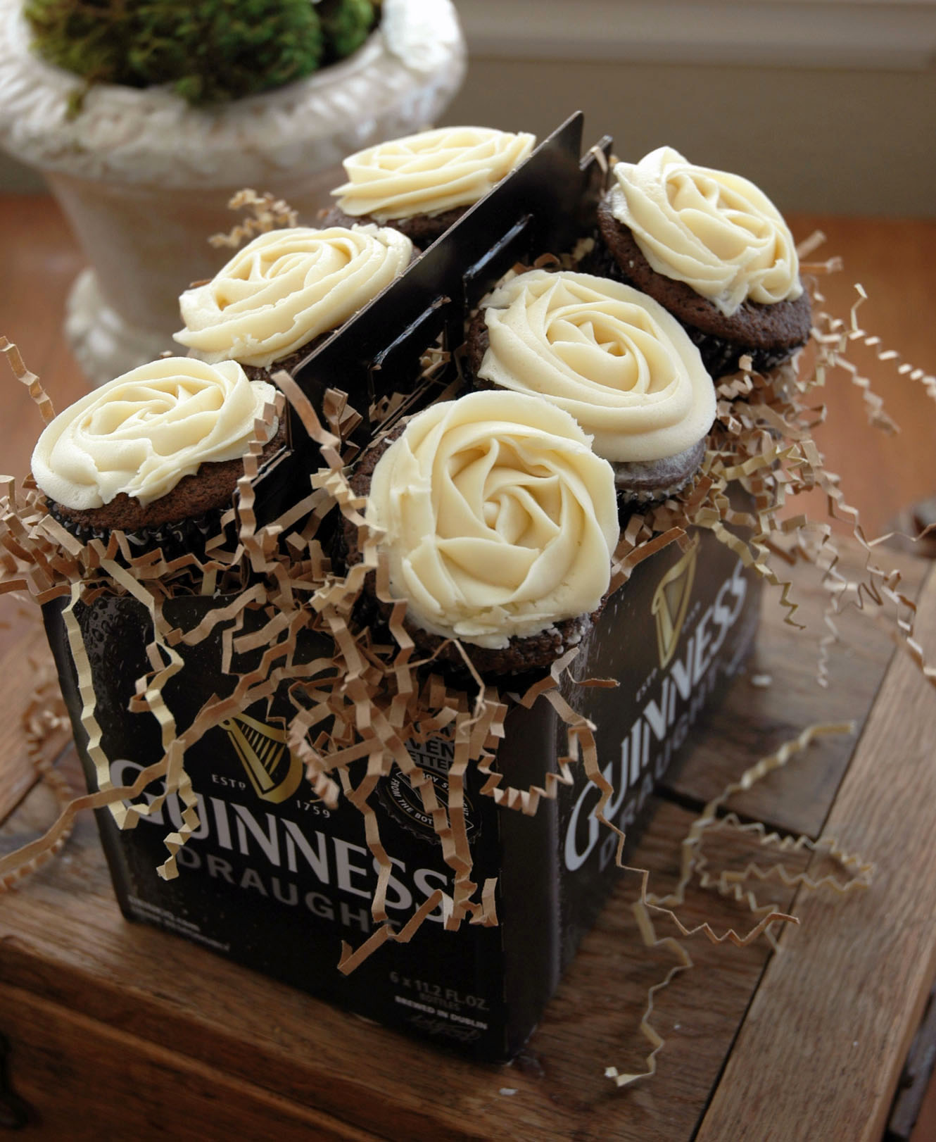 Chocolate Guinness Cupcakes with Baileys Irish Cream Butter Frosting (High Altitude)