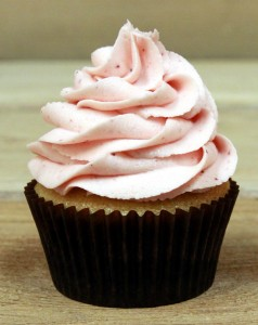 Chocolate Cupcakes with Strawberry Cream Cheese Butter Frosting (High-Altitude)