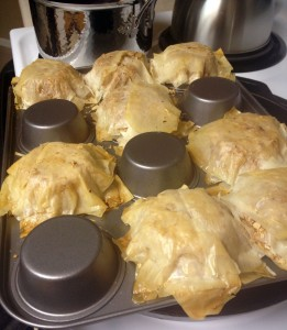 Cherry Phyllo Pie cooked dough crusts