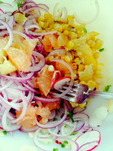 grapefruit and corn salsa: mix all ingredients