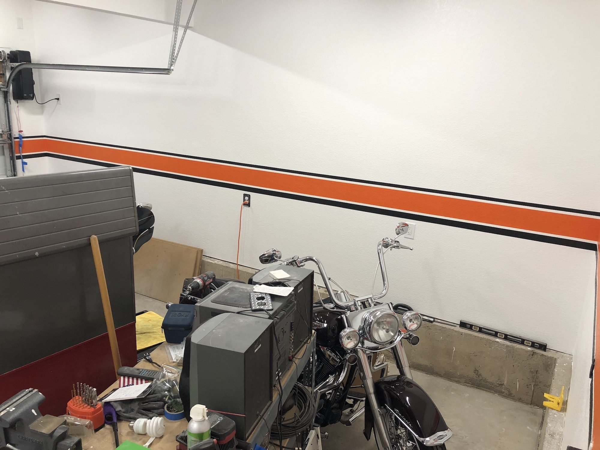 harley davidson garage with Costco cabinets