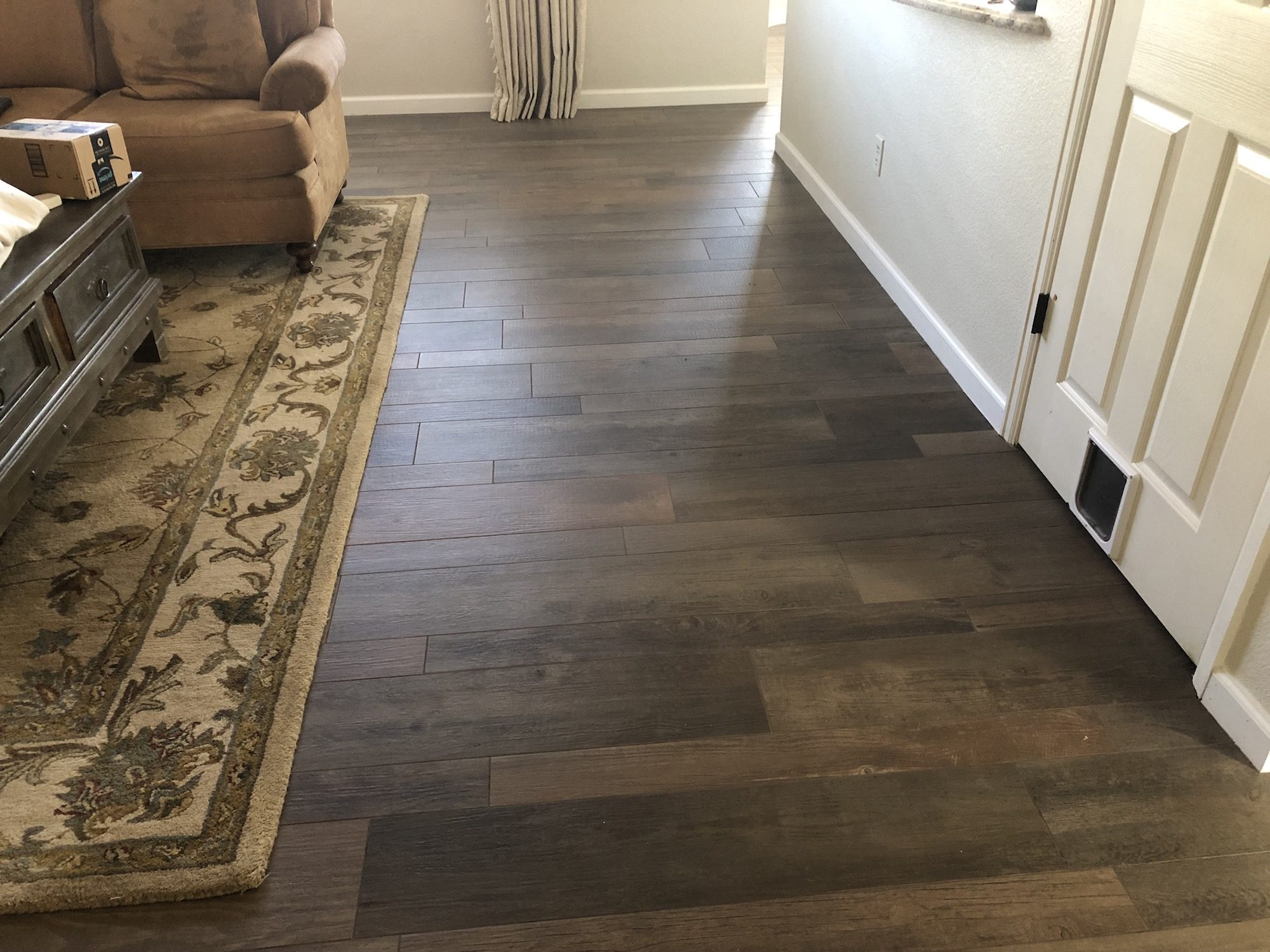 installation of porcelain wood flooring