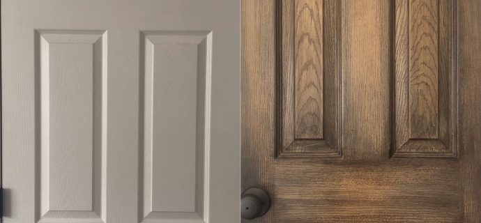 Before and After stained contractor interior doors DIY